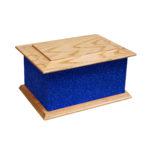 Solid wood glitter ashes casket blue