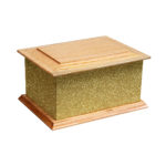 Solid wood glitter ashes casket gold