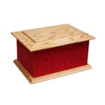 Solid wood glitter ashes casket red